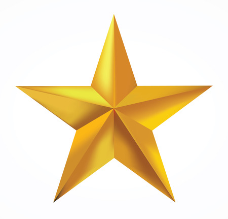 Gold star isolated on white background.