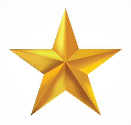 Złota gwiazda samodzielnie na białym tle.