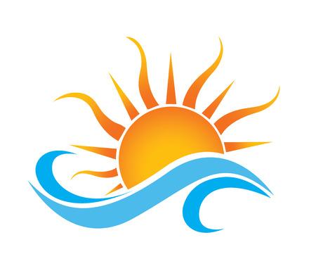sol naciente: olas del mar y el aumento de ilustración vectorial dom