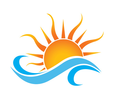 dawn: sea waves and rising sun vector illustration