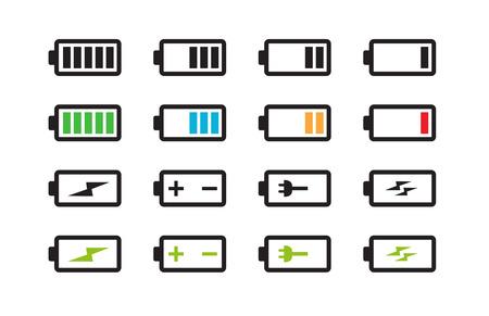 충전 그림의 서로 다른 수준의 배터리 세트