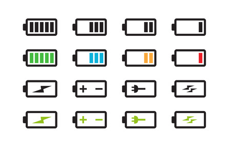 set of batteries with different level of charge illustration