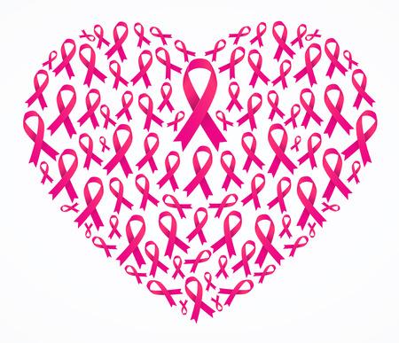 Awareness ribbons heart shape
