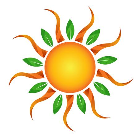 Golden Sun logo with leaves illustration.