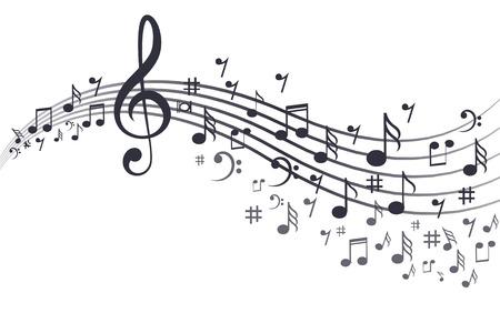 Notas musicales con ondas en blanco.