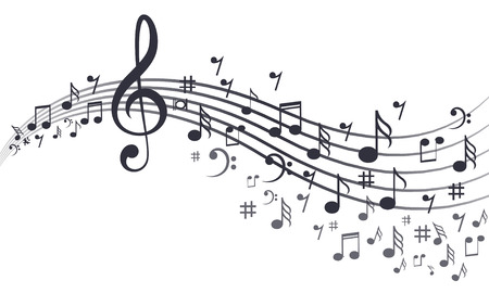 Music notes with waves in white. Illustration