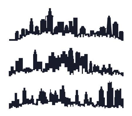 Three set of City skyline.