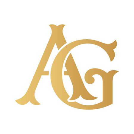 Golden AG monogram isolated in white. Vectores