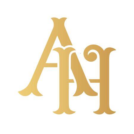 Golden AH monogram isolated in white.
