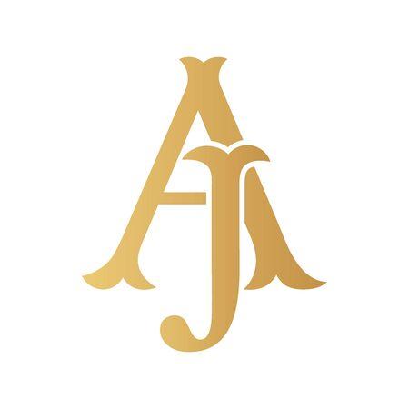 Golden AJ monogram isolated in white.