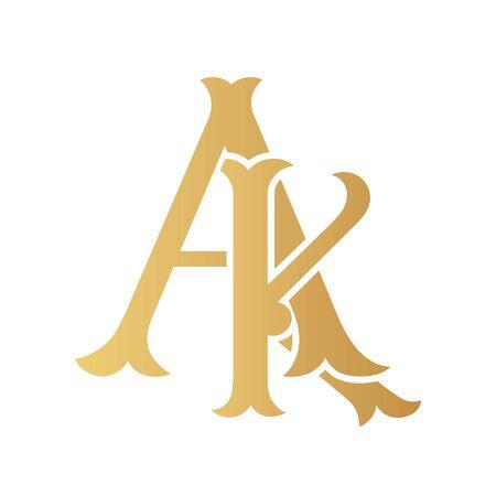 Golden AK monogram isolated in white.