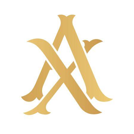 Golden AX monogram isolated in white.