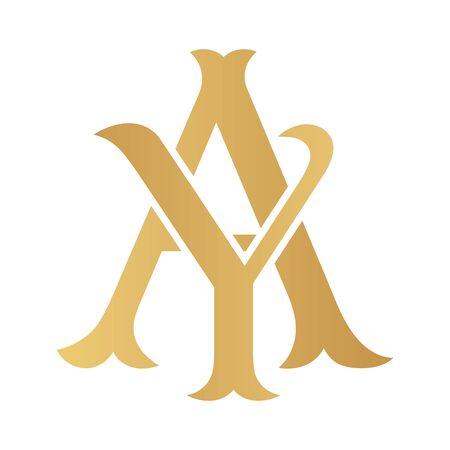 Golden AY monogram isolated in white.