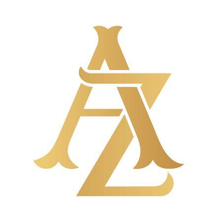 Golden AZ monogram isolated in white. Vectores