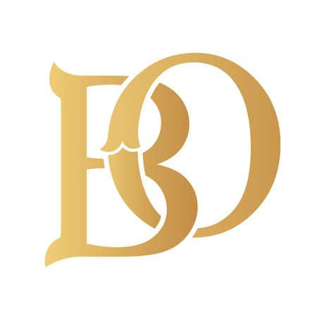 Golden BO monogram isolated in white.