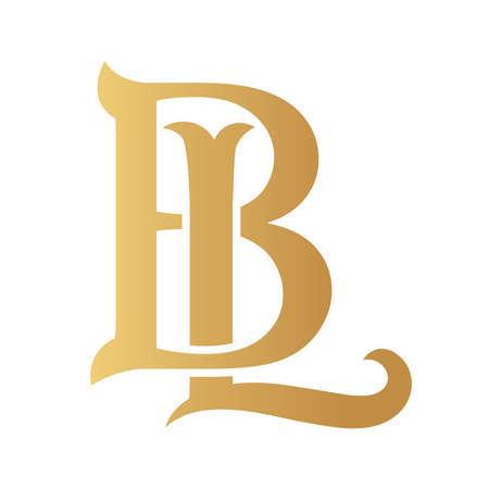 Golden BL monogram isolated in white.