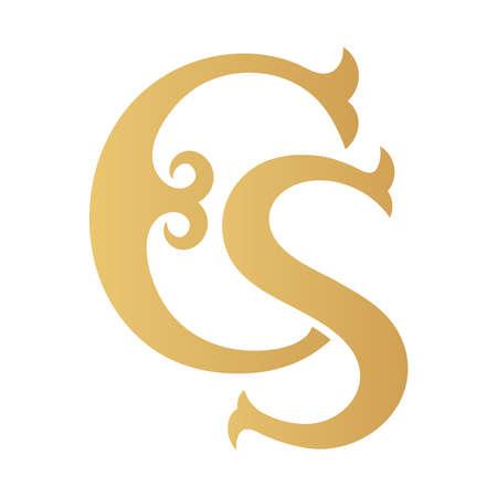 Golden CS monogram isolated in white.