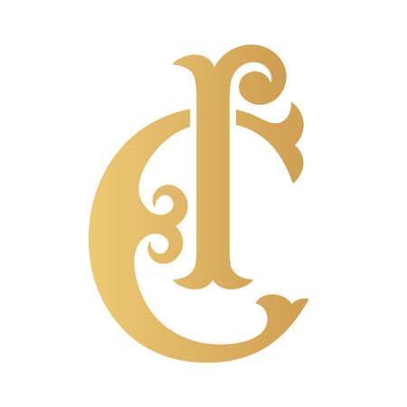 Golden CI monogram isolated in white.