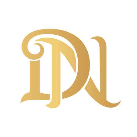 Golden DN monogram isolated in white.