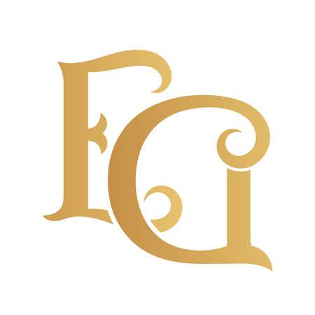 Golden EG monogram isolated in white.
