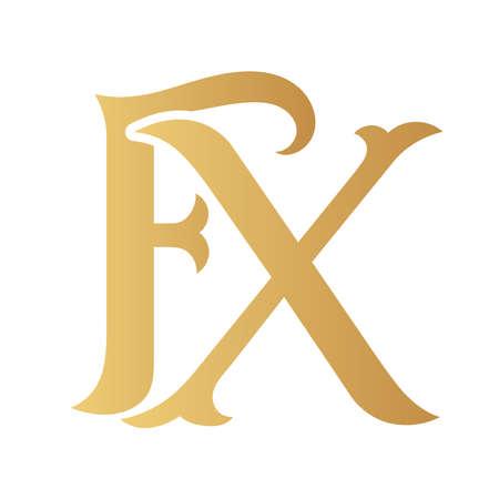Golden fX monogram isolated in white. 矢量图像