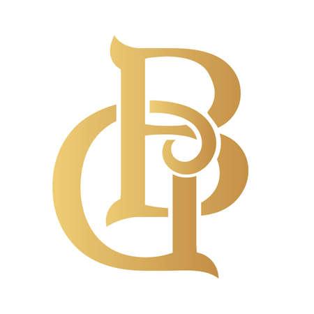 Golden GP monogram isolated in white.