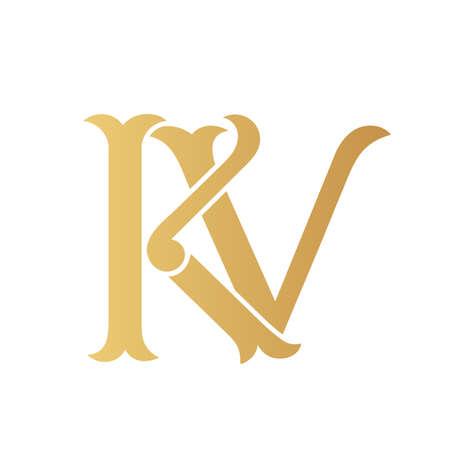 Golden KV monogram isolated in white.