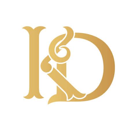 Golden KD monogram isolated in white.