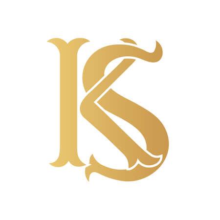 Golden KS monogram isolated in white. Vektoros illusztráció