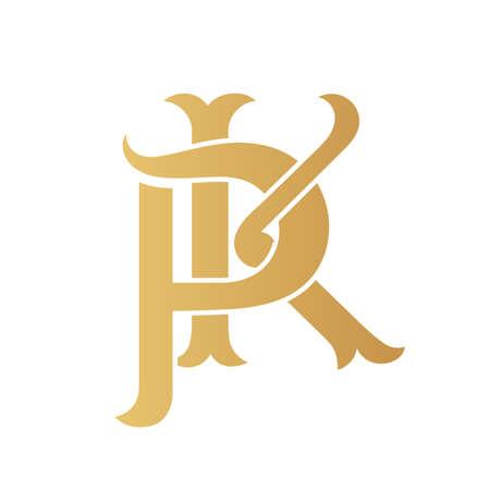 Golden PK monogram isolated in white. Vektoros illusztráció