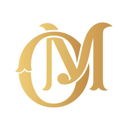 Golden OM monogram isolated in white. Vecteurs
