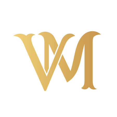 Golden VM monogram isolated in white. Vektoros illusztráció