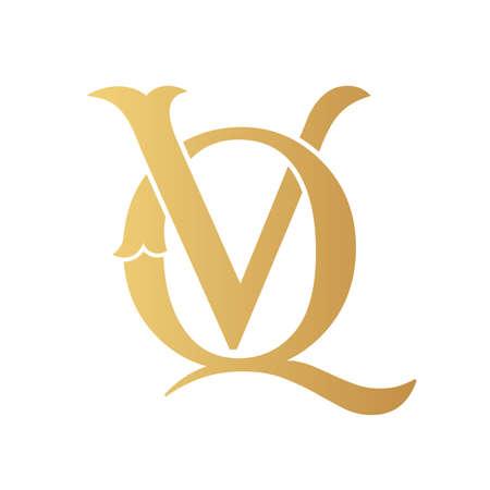 Golden VQ monogram isolated in white.
