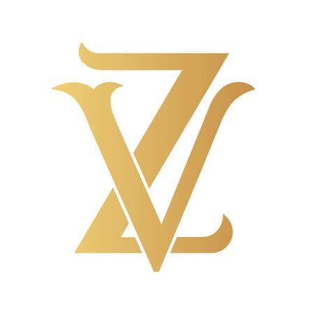 Golden VZ monogram isolated in white.