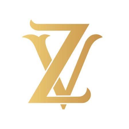 Golden ZV monogram isolated in white.