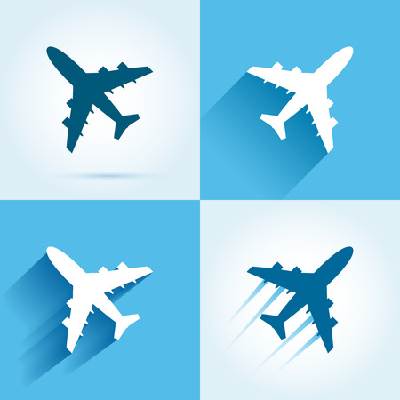 Plane icon set. Flying aircrafts colorful illustration Çizim