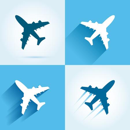 Plane icon set. Flying aircrafts colorful illustration Illustration