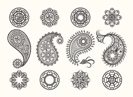 henna background: Henna tatoo paisley icons set. Mehndi henna high quality ornamental elements.