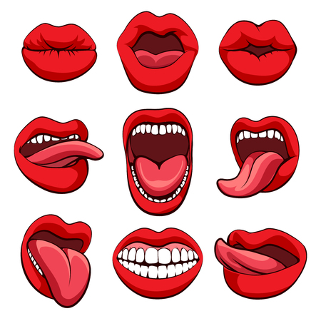 incisor: Mouths set. mouths expressions or mouths gestures icons on white background