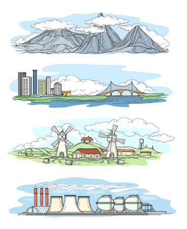 industrial drawing: Landscapes in hand drawing style. Mountain views and views of the city, the industrial landscape and rural landscape Illustration