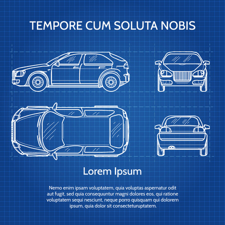 Vehicle drawing or vehicle blueprint image. Car blueprint illustration