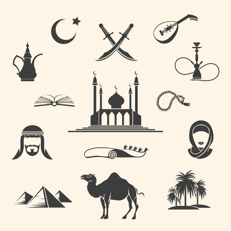 sheik: Set of Arabian or Middle East black icons. Vector illustration