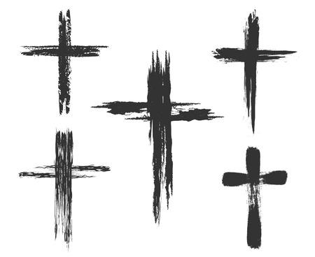 memorial cross: Dibujado a mano signos cruz cristiana. Cepillo pintado iconos transversales. ilustración vectorial