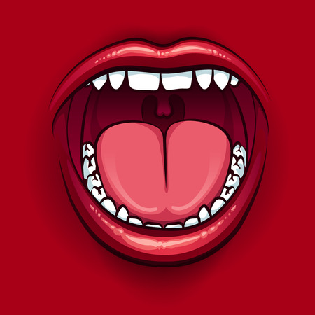 wide open: Screaming mouth with red lips on red background. Wide open mouth icon. Vector illustration Illustration