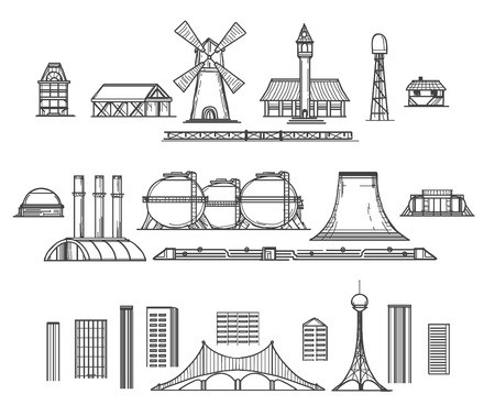 facilities: Industry hand drawn items. Architectural objects and industrial facilities. Vector illustration