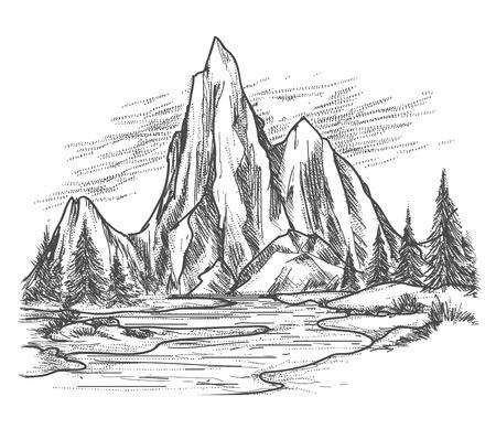 Bergmeer landschap. Hand getrokken uitzicht op de bergen met bos pijnbomen. vector illustratie Stock Illustratie