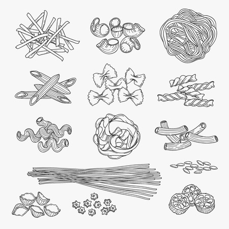Pasta in hand drawn style. Different types of pasta black line icons on white background. Vector illustration