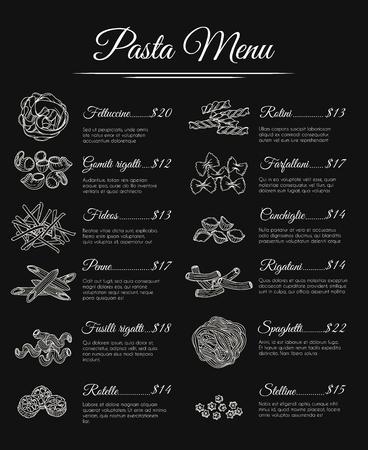 italian pasta: Hand drawn pasta menu. Italian restaurant pasta menu template. Vector illustration
