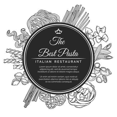 Hand drawn italian pasta restaurant poster. Best pasta restaurant logo with different kinds of pasta. Vector illustration