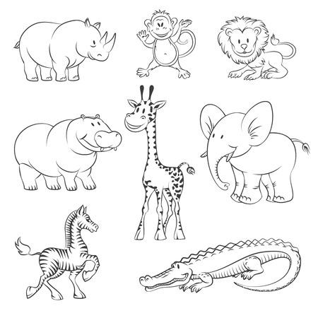animales de la selva de estilo dibujado a mano.